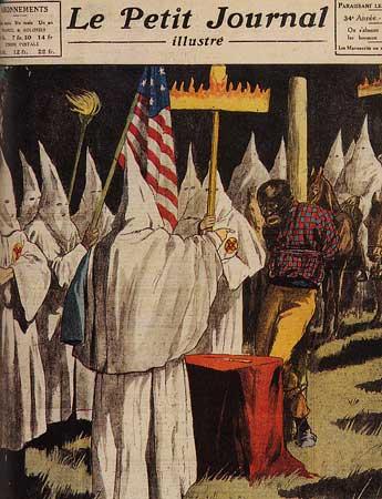 Gravure du Petit journal illustré sur les exactions du Ku Klux Klan